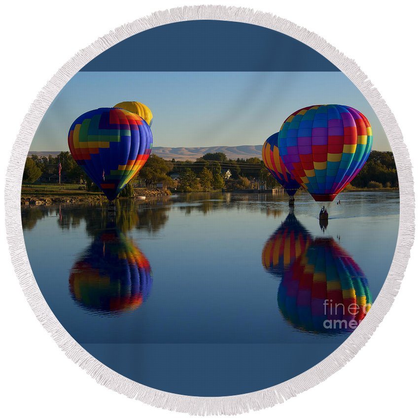 Hot-air Balloons Round Beach Towel featuring the photograph Shadow Dancing by Mike Dawson