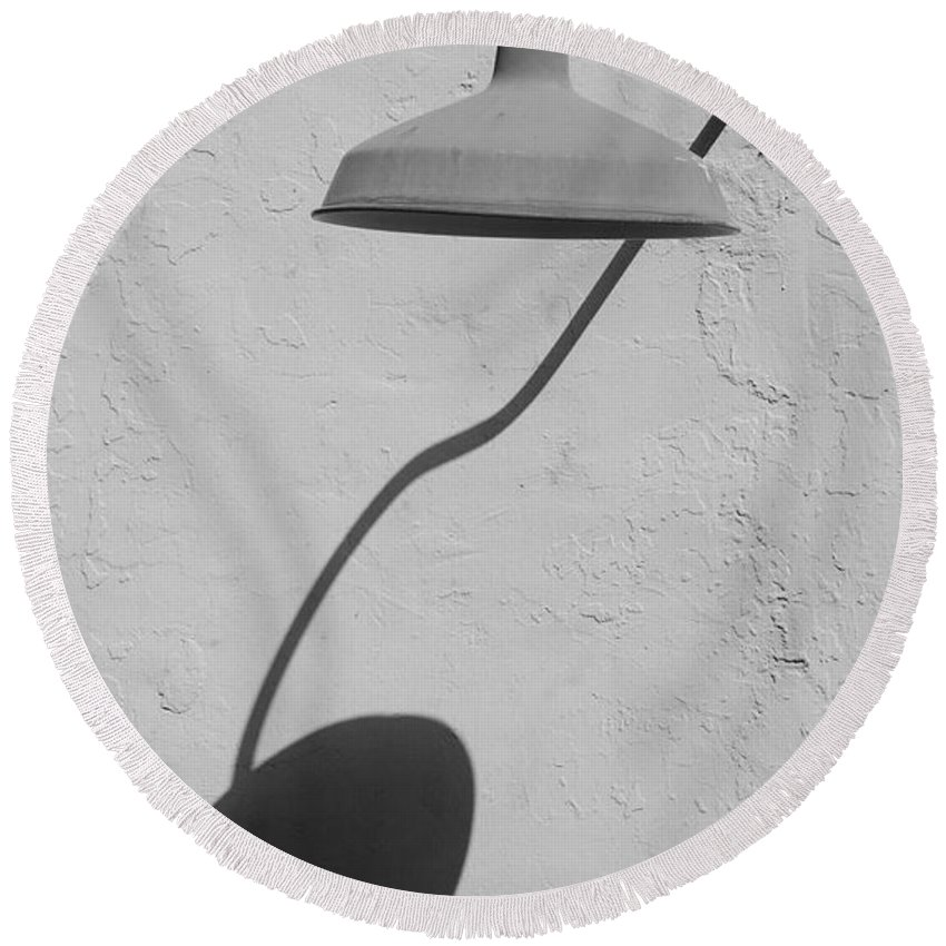 Black And White Round Beach Towel featuring the photograph Shadow Lamp by Rob Hans