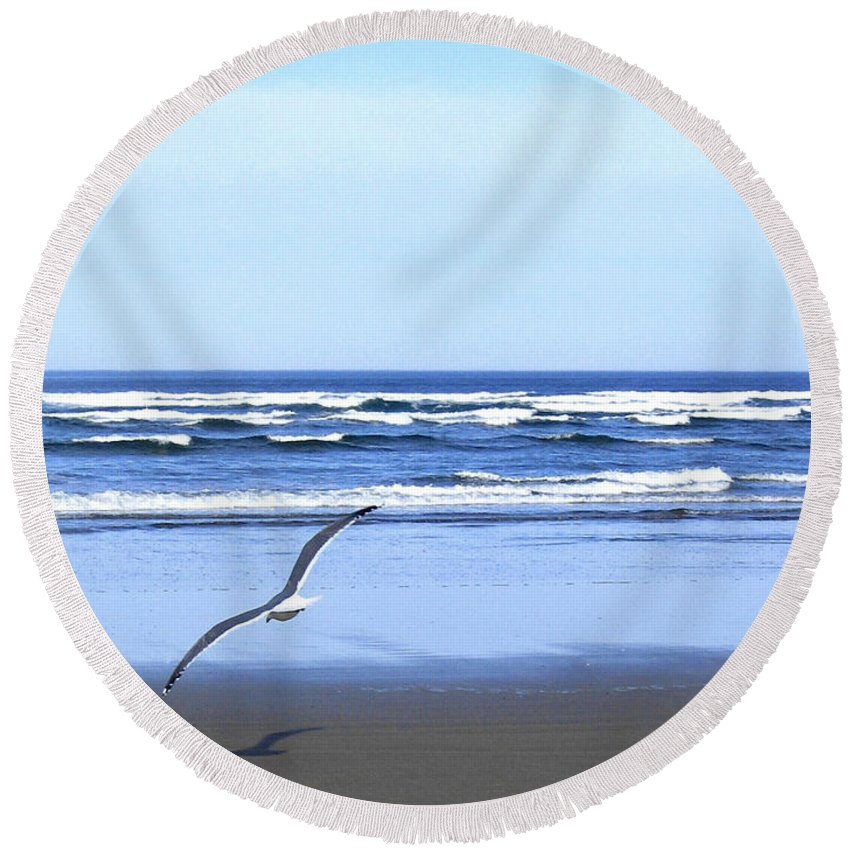 Seagull Round Beach Towel featuring the photograph Shadow On The Sand by Will Borden