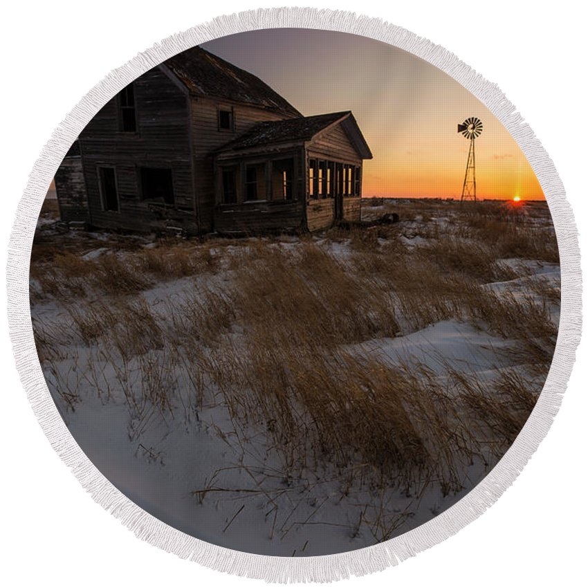 Esmond Round Beach Towel featuring the photograph Shadow On The Sun by Aaron J Groen