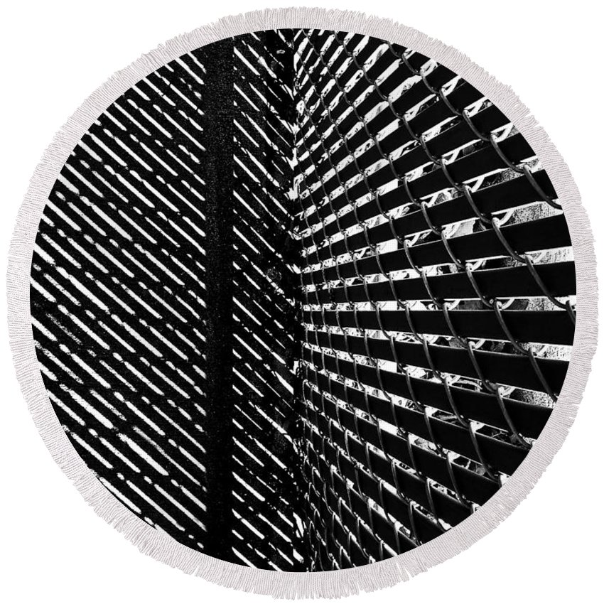 Abstract Round Beach Towel featuring the photograph Shadow Pattern No. 208 by Fei A