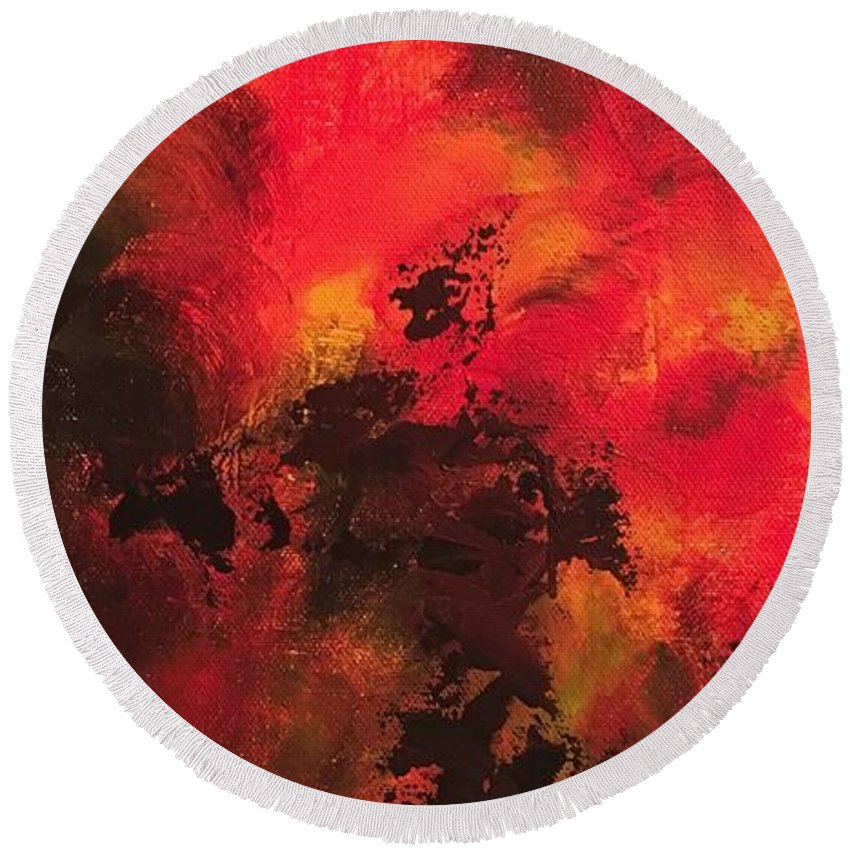 Abstract Round Beach Towel featuring the painting Shadows by Claire Gagnon