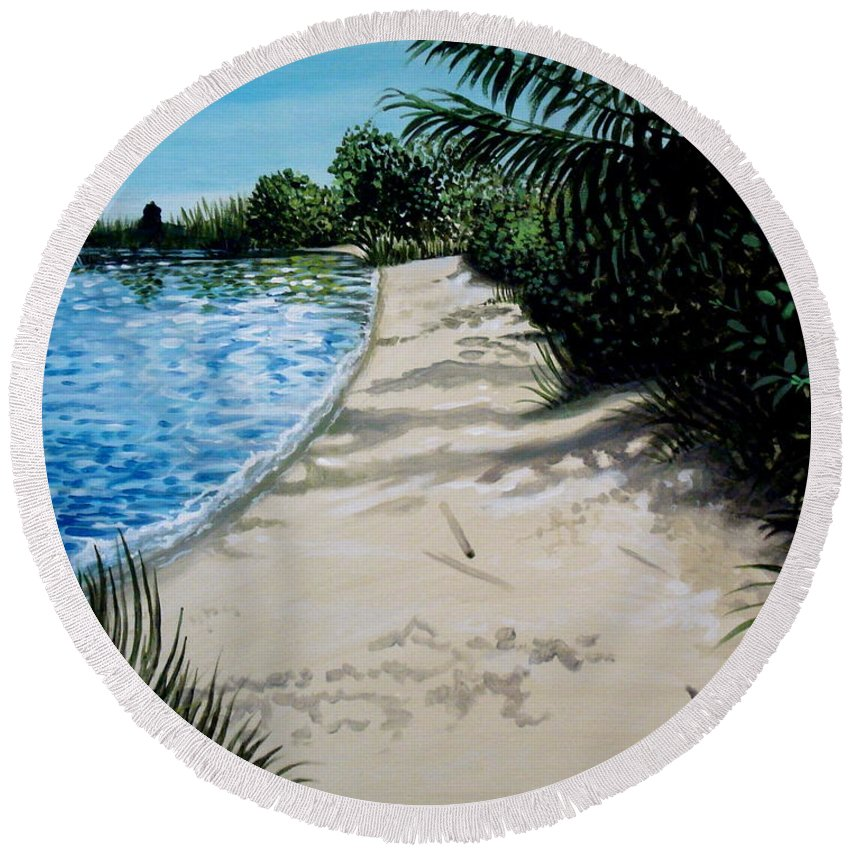 Beach Round Beach Towel featuring the painting Shadows In The Sand by Elizabeth Robinette Tyndall
