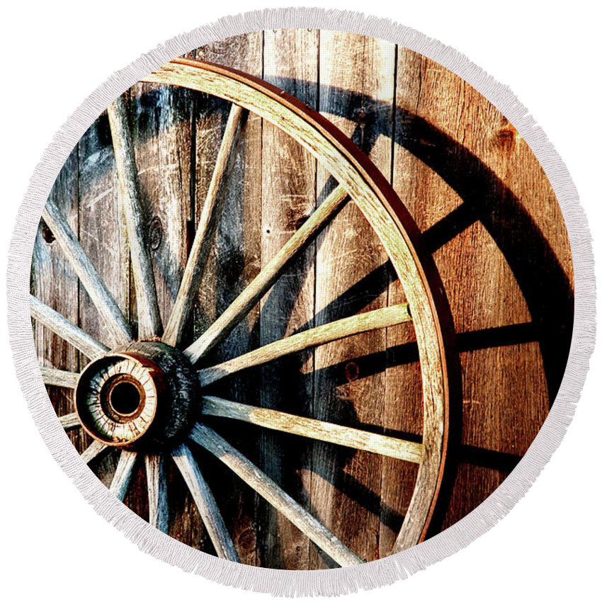 Wagon Wheel Round Beach Towel featuring the photograph Shadows Of The Past by Greg Fortier
