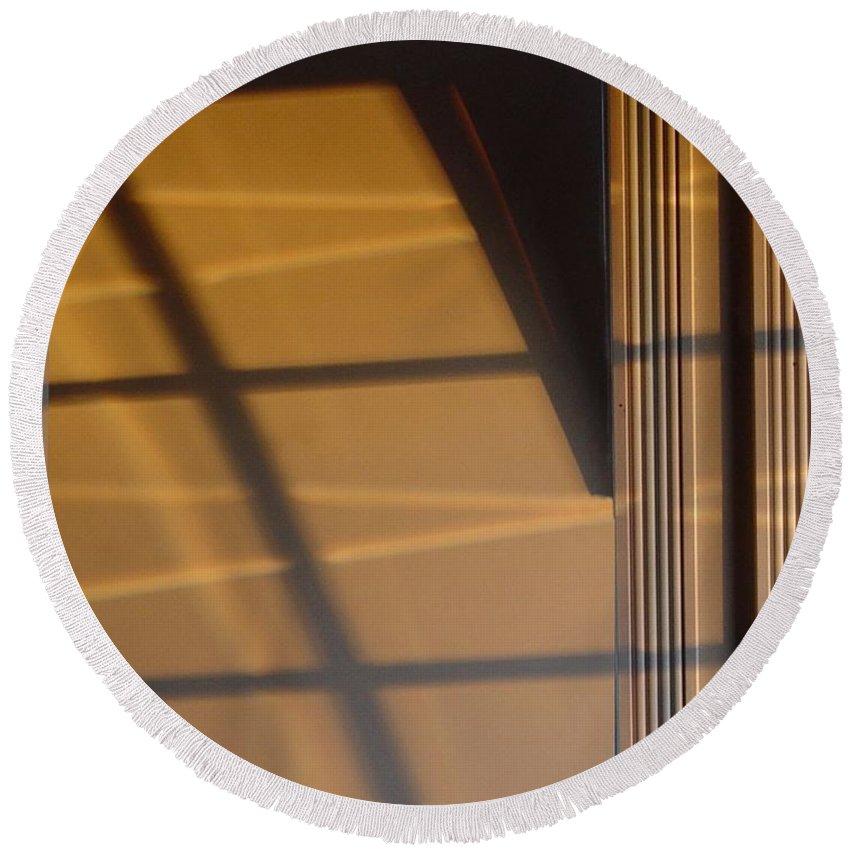 Windows Round Beach Towel featuring the digital art Shadows by Ron Bissett