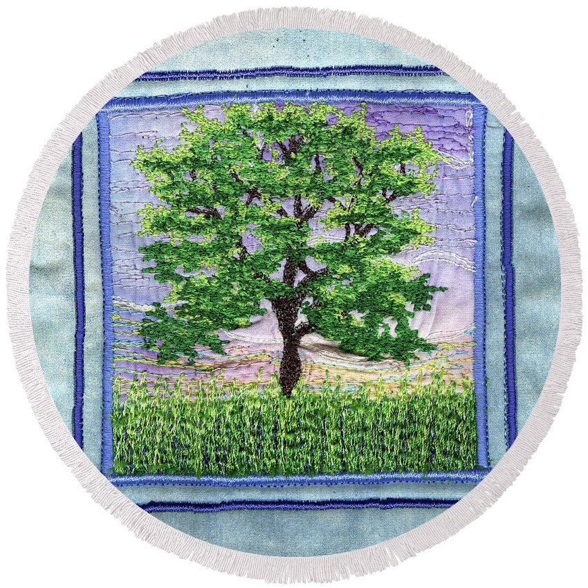 Tree Round Beach Towel featuring the tapestry - textile Shadygrove by Dottie Moore