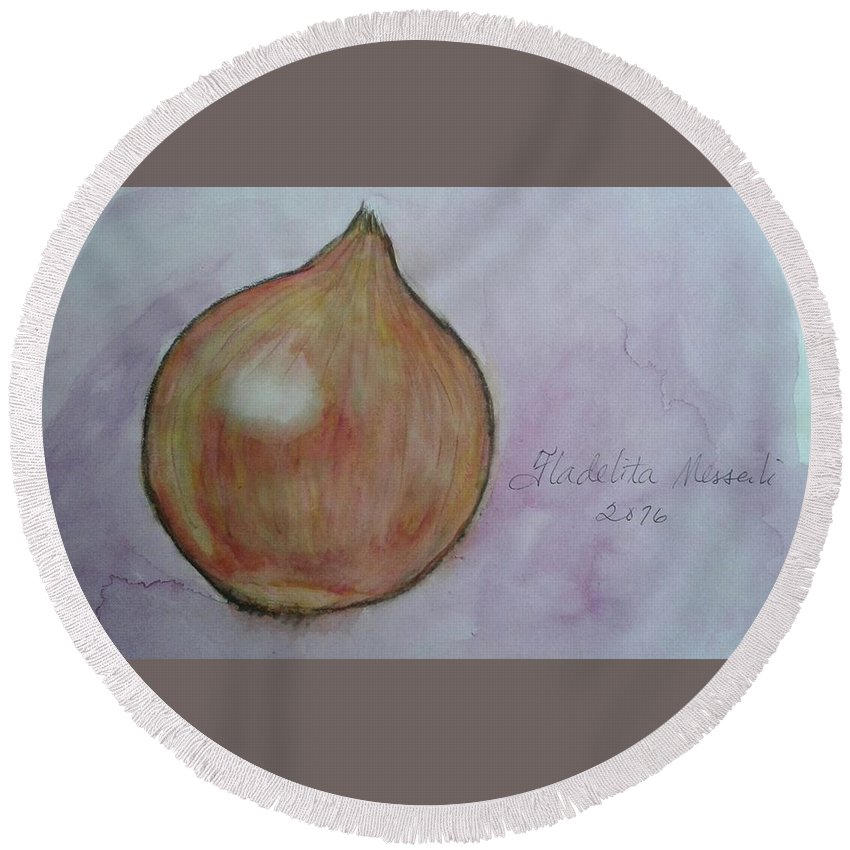 Spices Round Beach Towel featuring the painting Shallot by Fladelita Messerli-