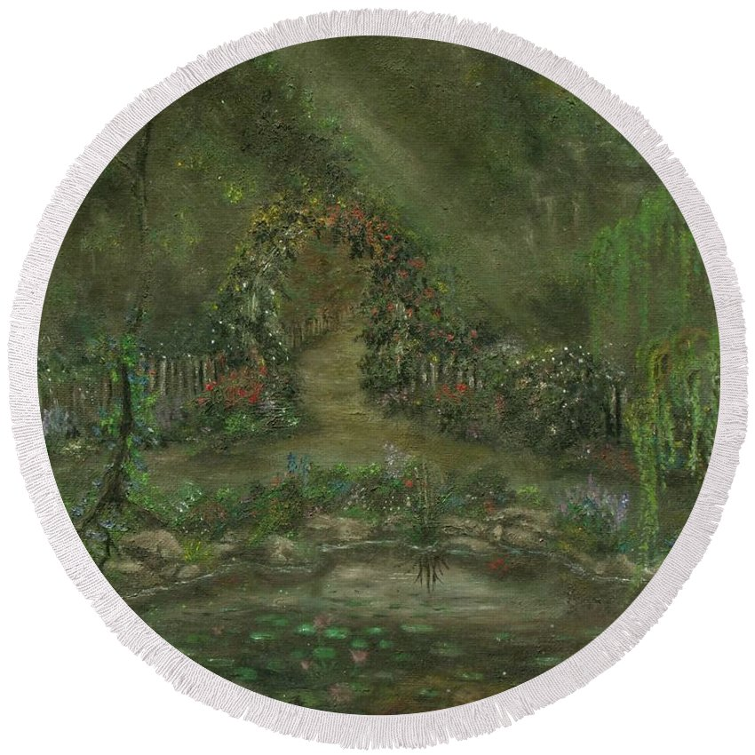Landscape Round Beach Towel featuring the painting Shalott by Shauna Eggleston