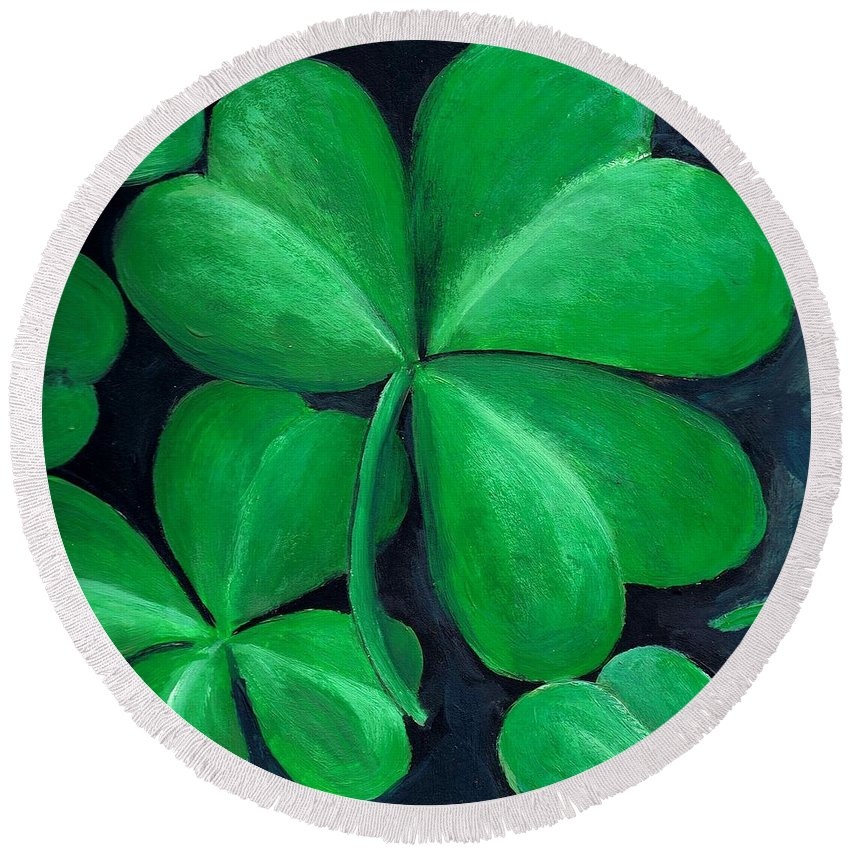 Shamrock Round Beach Towel featuring the painting Shamrocks by Nancy Mueller