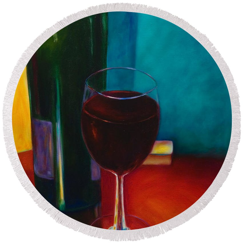 Wine Bottle Round Beach Towel featuring the painting Shannon's Red by Shannon Grissom