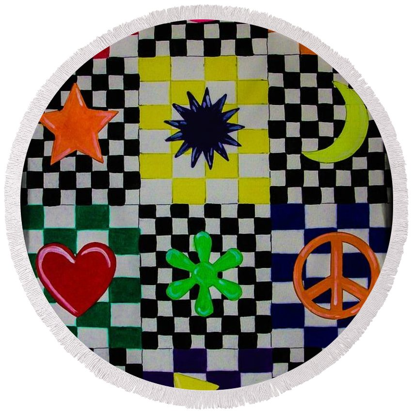 Abstract. Geometric. Rainbow Colors. Shapes. Design. Colorful. Checker Board. Peace Sign. Heart. Star. Moon. Flower Design. Round Beach Towel featuring the painting Shapes by Dawn Siegler