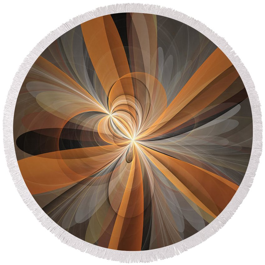 Abstract Round Beach Towel featuring the digital art Shapes Of Fantasy Flowers by Gabiw Art