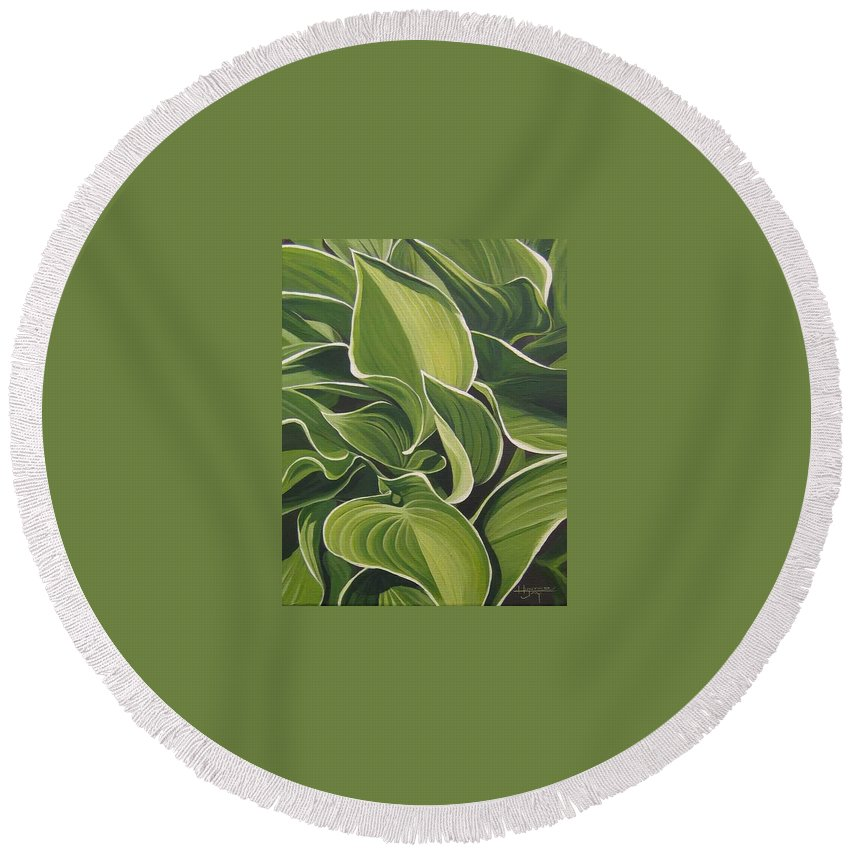 Closeup Of Hosta Plant Round Beach Towel featuring the painting Shapes that Go Together by Hunter Jay