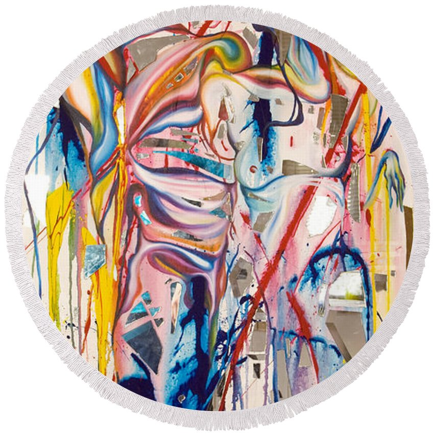 Abstract Round Beach Towel featuring the painting Shards by Sheridan Furrer