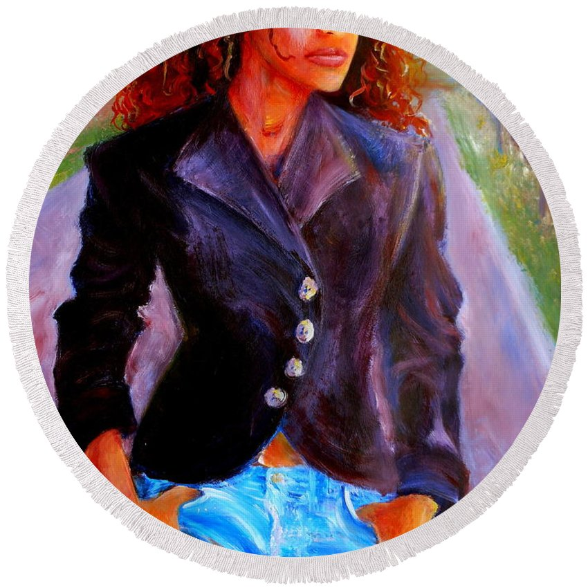 Acrylic Round Beach Towel featuring the painting Sharice by Jason Reinhardt