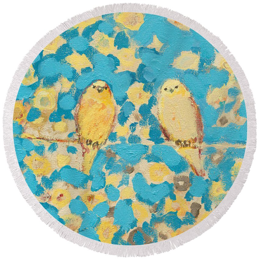 Impressionist Round Beach Towel featuring the painting Sharing A Sunny Perch by Jennifer Lommers