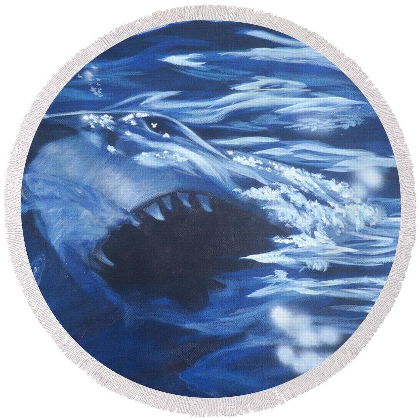 Shark Round Beach Towel featuring the painting Shark by Bryan Bustard