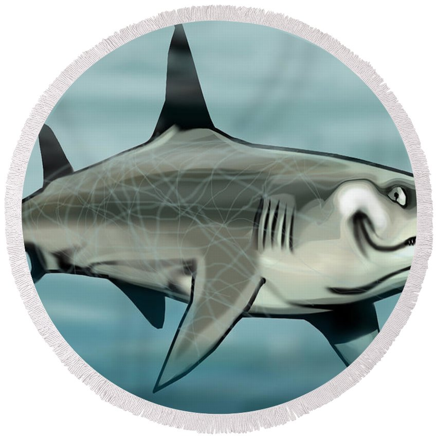 Shark Round Beach Towel featuring the painting Shark by Kevin Middleton
