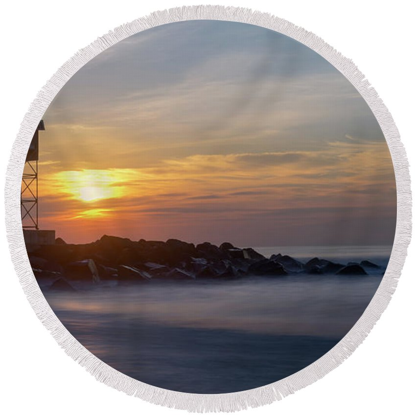 New Jersey Round Beach Towel featuring the photograph Shark River Inlet Bug Light by Jerry Fornarotto