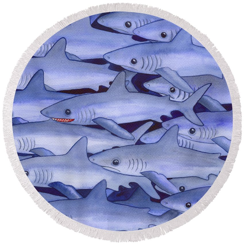 Shark Round Beach Towel featuring the painting Sharks by Catherine G McElroy