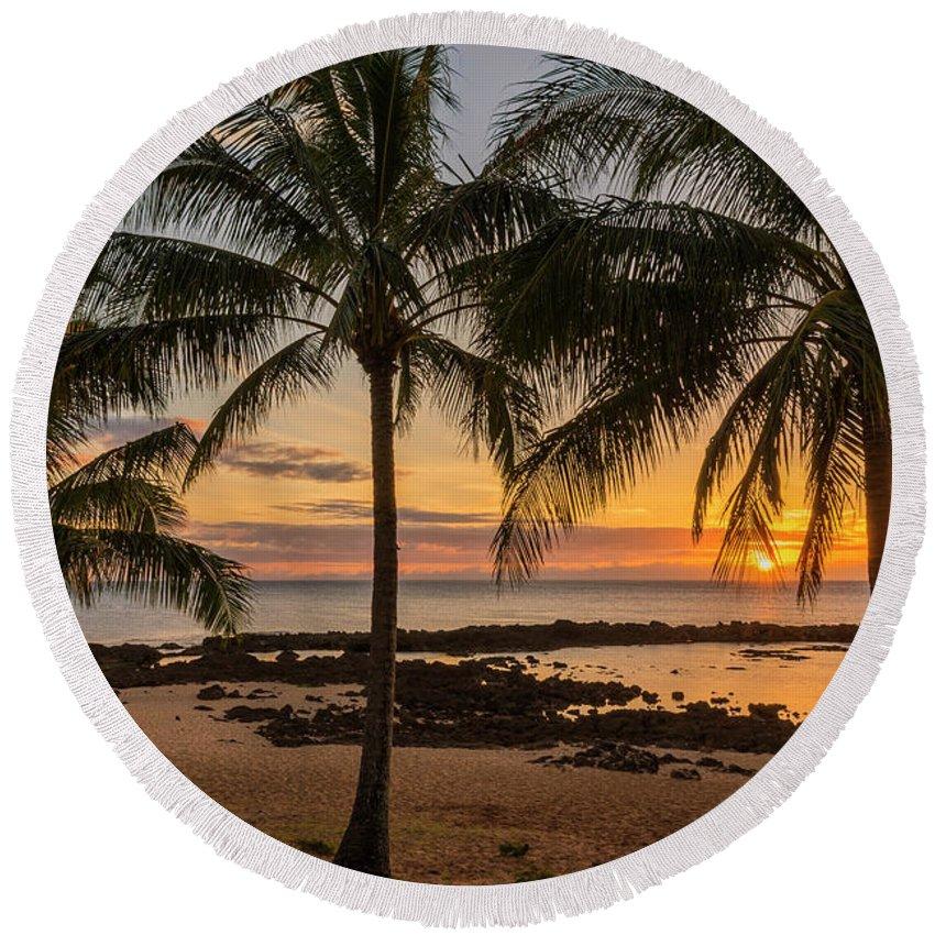 Sharks Cove Sunset 4 Oahu Hawaii Round Beach Towel For Sale By