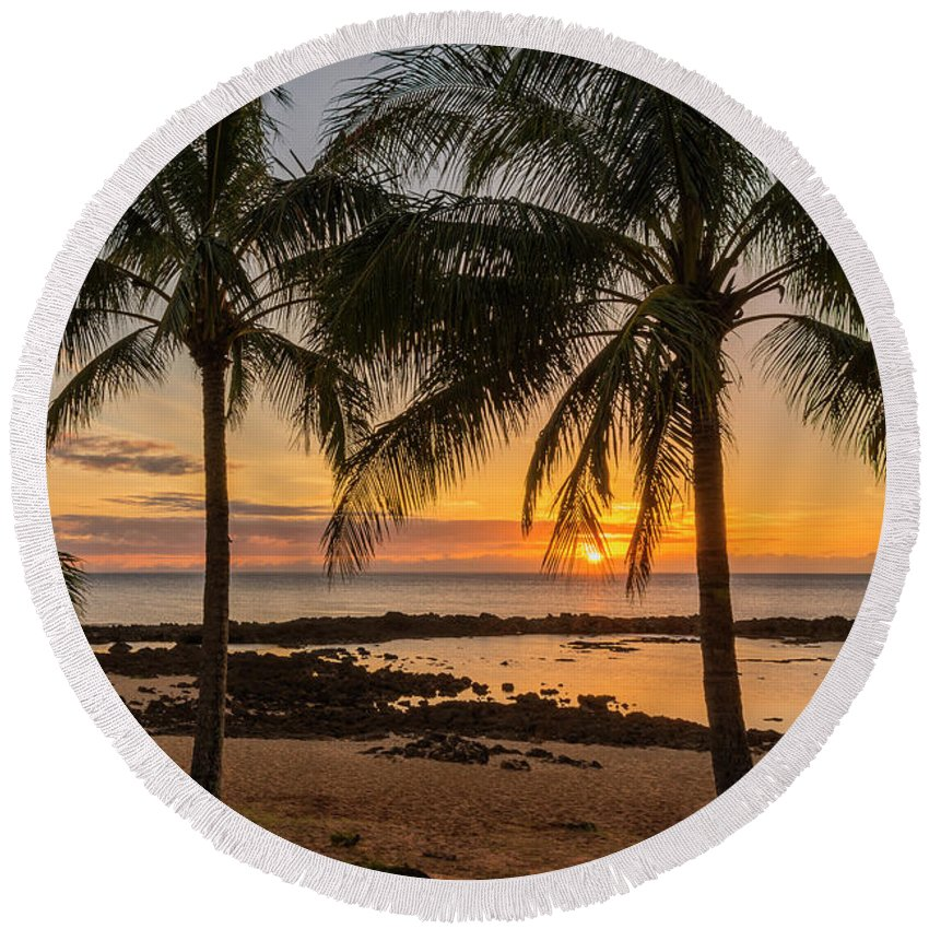 Sharks Cove Sunset 4 Oahu Hawaii Round Beach Towel For Sale By