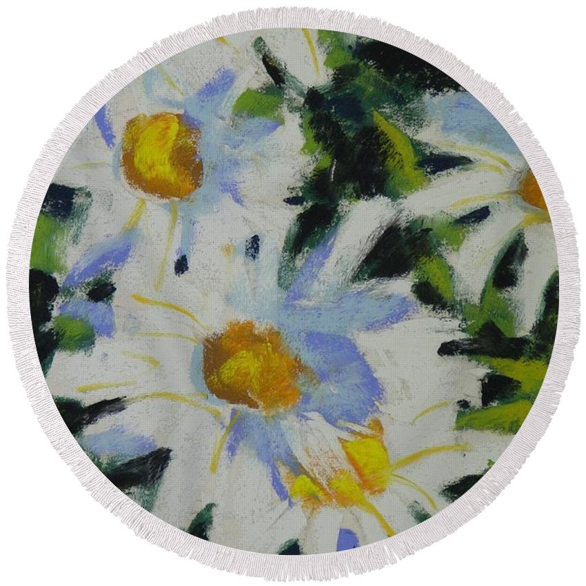 Pastels Round Beach Towel featuring the painting Shastas by Mary McInnis