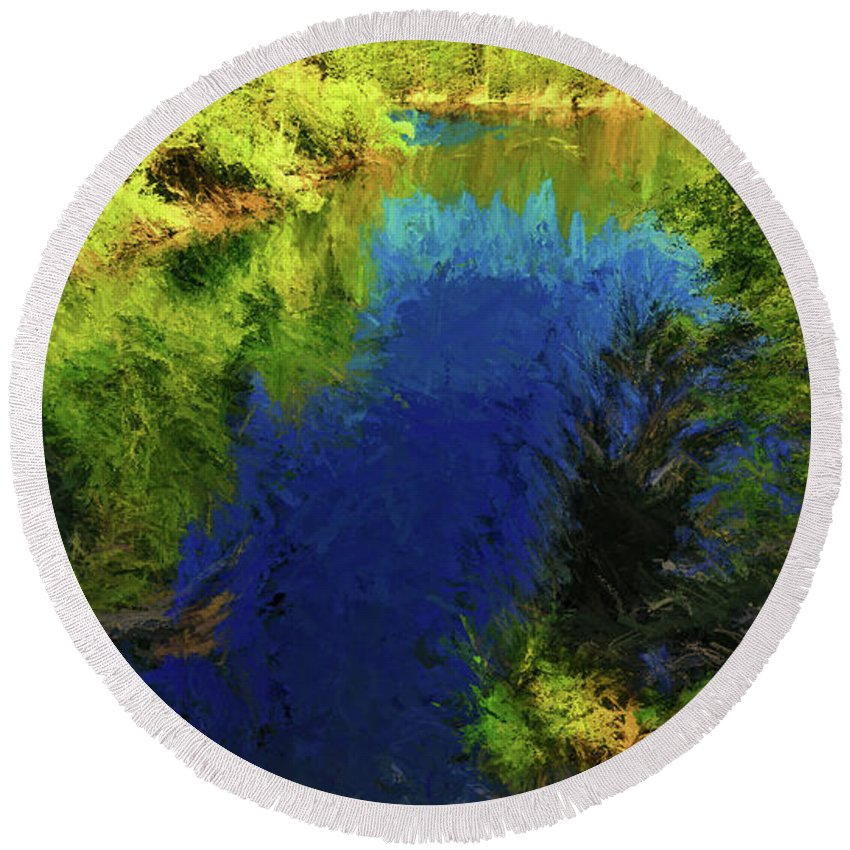 Landscape Round Beach Towel featuring the photograph Shasta's Still Waters by Peter Hogg
