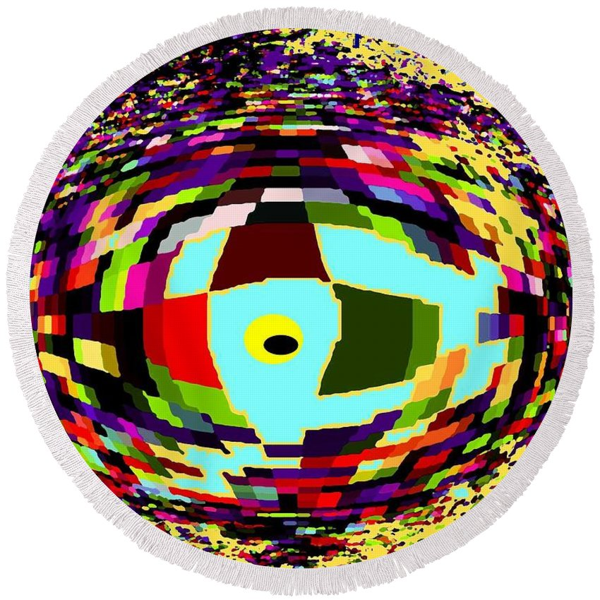 Abstract Round Beach Towel featuring the digital art Shattered by Ian MacDonald