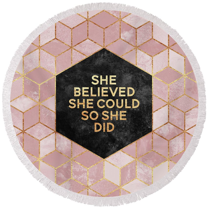 Graphic Round Beach Towel featuring the digital art She believed she could by Elisabeth Fredriksson