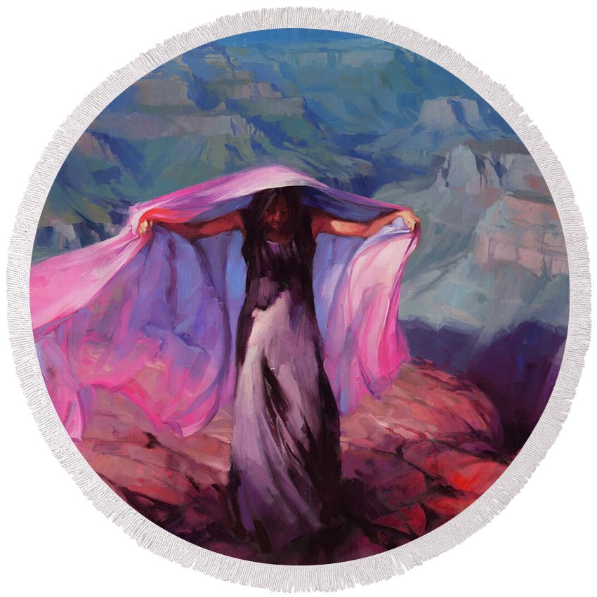 Dancer Round Beach Towel featuring the painting She Danced By The Light Of The Moon by Steve Henderson