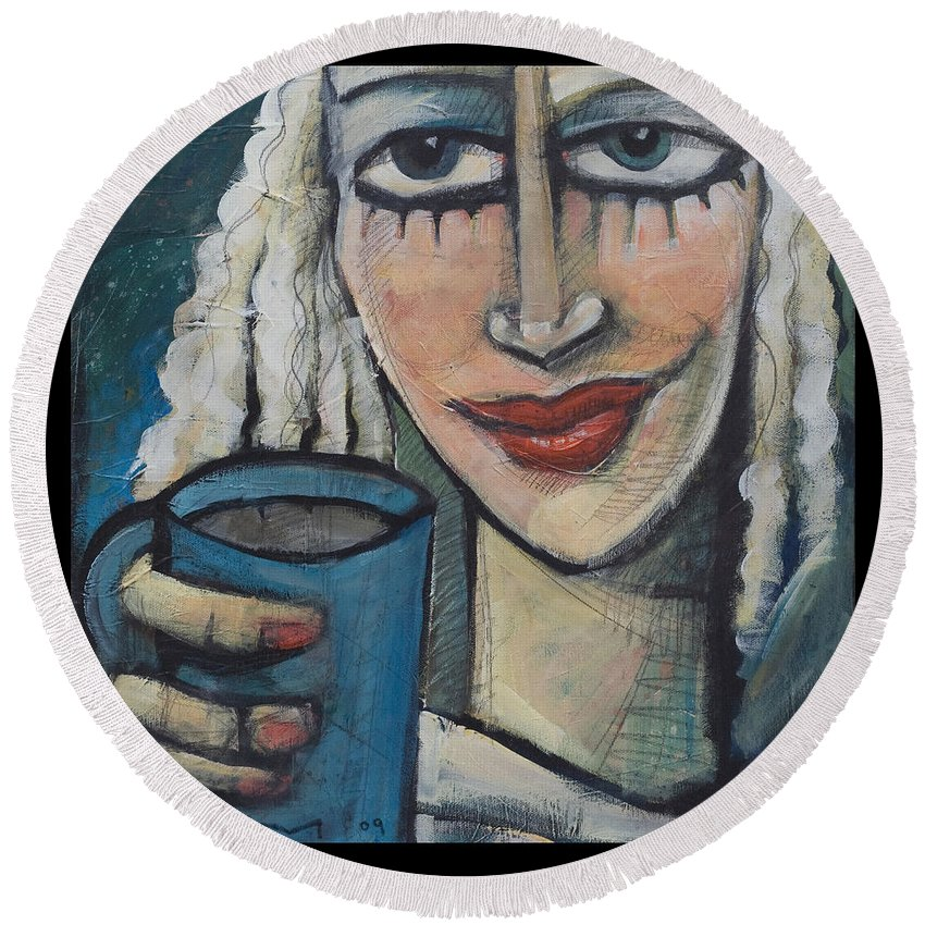 Pleasant Round Beach Towel featuring the painting She Had Some Dreams... by Tim Nyberg
