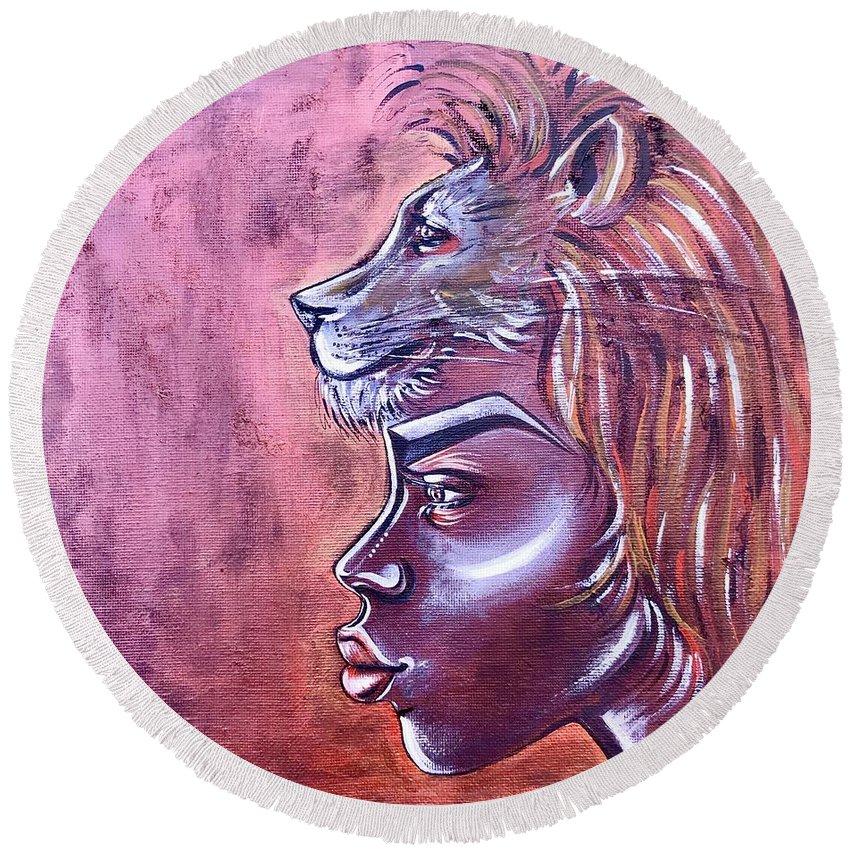 Lion Round Beach Towel featuring the painting She Has Goals by Artist RiA