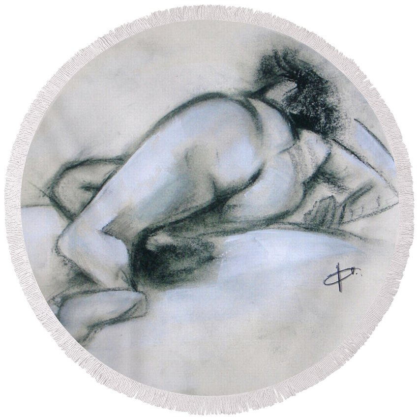 Nude Round Beach Towel featuring the painting She Is Sleeping by Vesna Antic