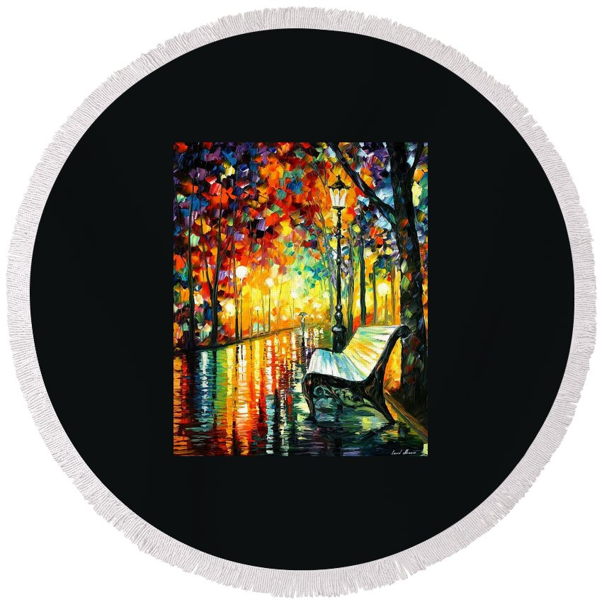 Afremov Round Beach Towel featuring the painting She Left by Leonid Afremov
