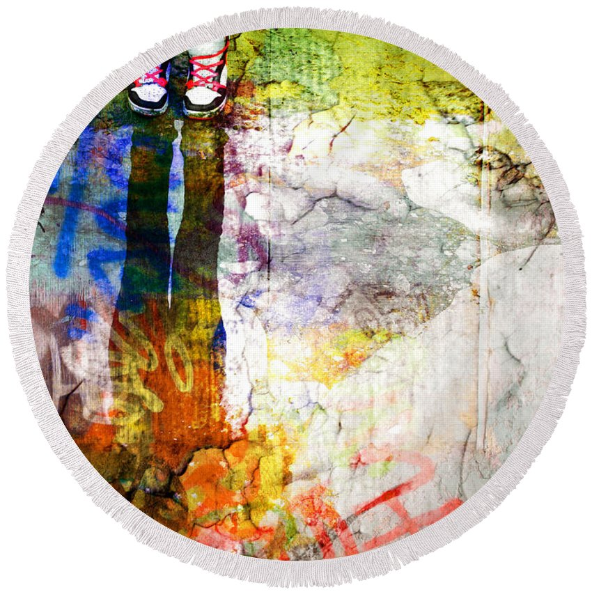 Shoes Round Beach Towel featuring the photograph She Lives In A Box Of Paint by Tara Turner