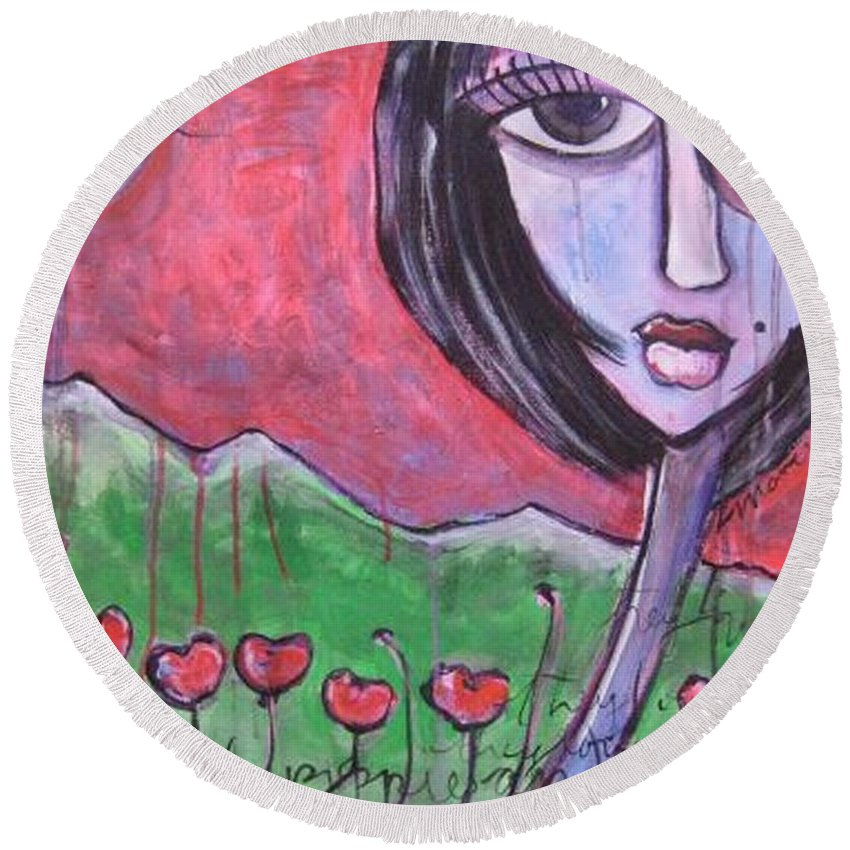 Poppies Round Beach Towel featuring the painting She Loved The Poppies by Laurie Maves ART