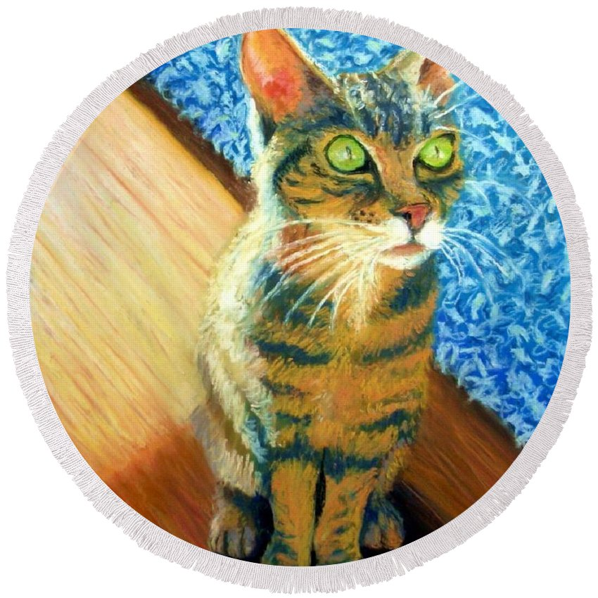 Cat Round Beach Towel featuring the painting She Wants To Be Famous by Minaz Jantz
