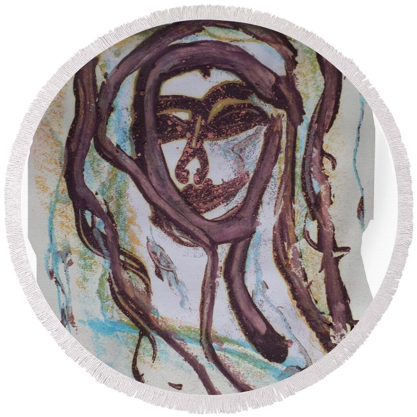 Paris Round Beach Towel featuring the painting She Yes, Elle Oui, by Maria Frankmar