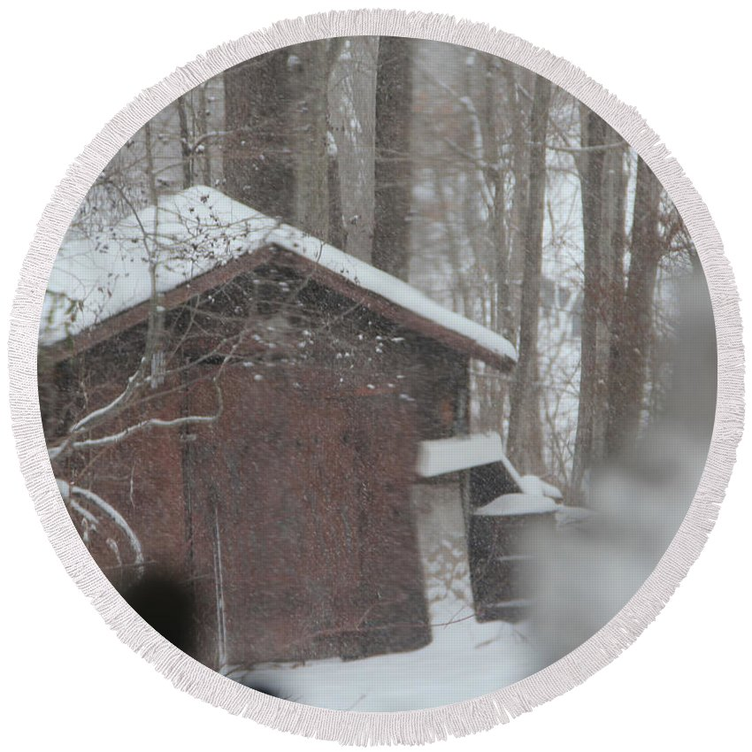 Photograph Round Beach Towel featuring the photograph Shed Thru Glass And Snow by Steven Scanlon