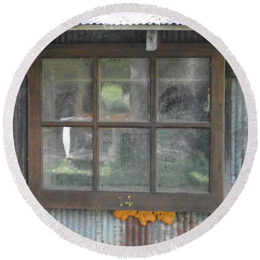 Country Round Beach Towel featuring the photograph Shed Window by Jost Houk