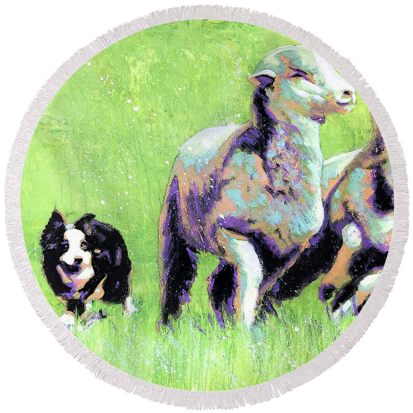 Sheep Round Beach Towel featuring the painting Sheep And Dog by Steve Gamba
