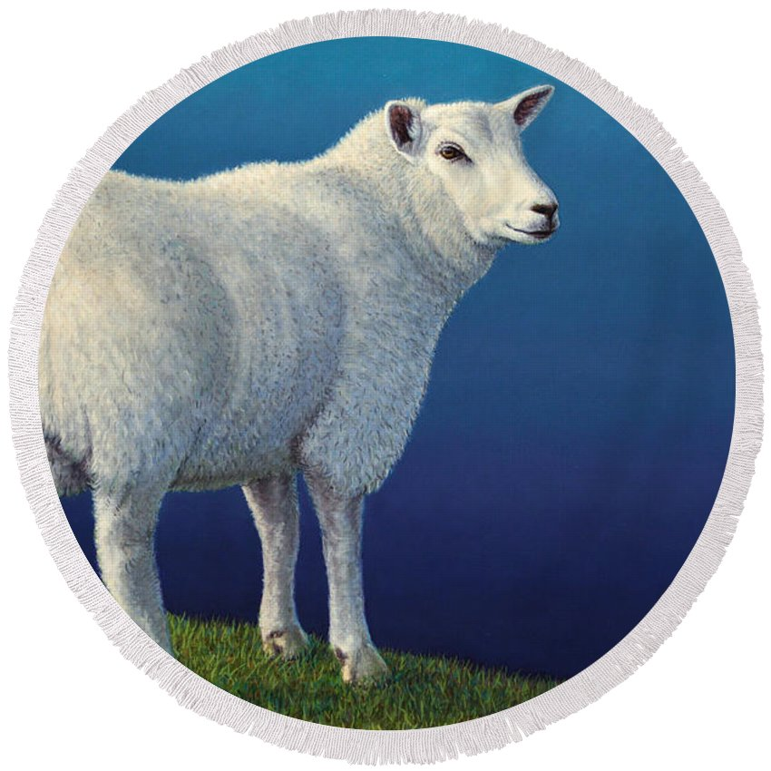 Sheep Round Beach Towel featuring the painting Sheep At The Edge by James W Johnson