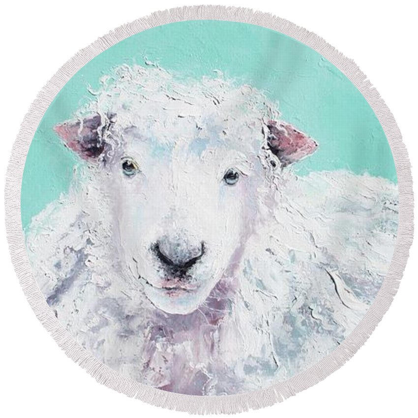Sheep Round Beach Towel featuring the painting Sheep Painting - Jeremiah by Jan Matson
