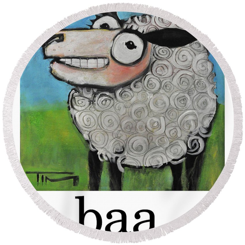 Sheep Round Beach Towel featuring the painting Sheep Poster by Tim Nyberg
