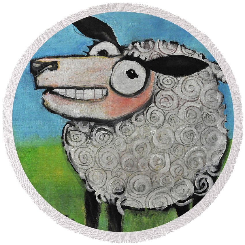 Sheep Round Beach Towel featuring the painting Sheep by Tim Nyberg