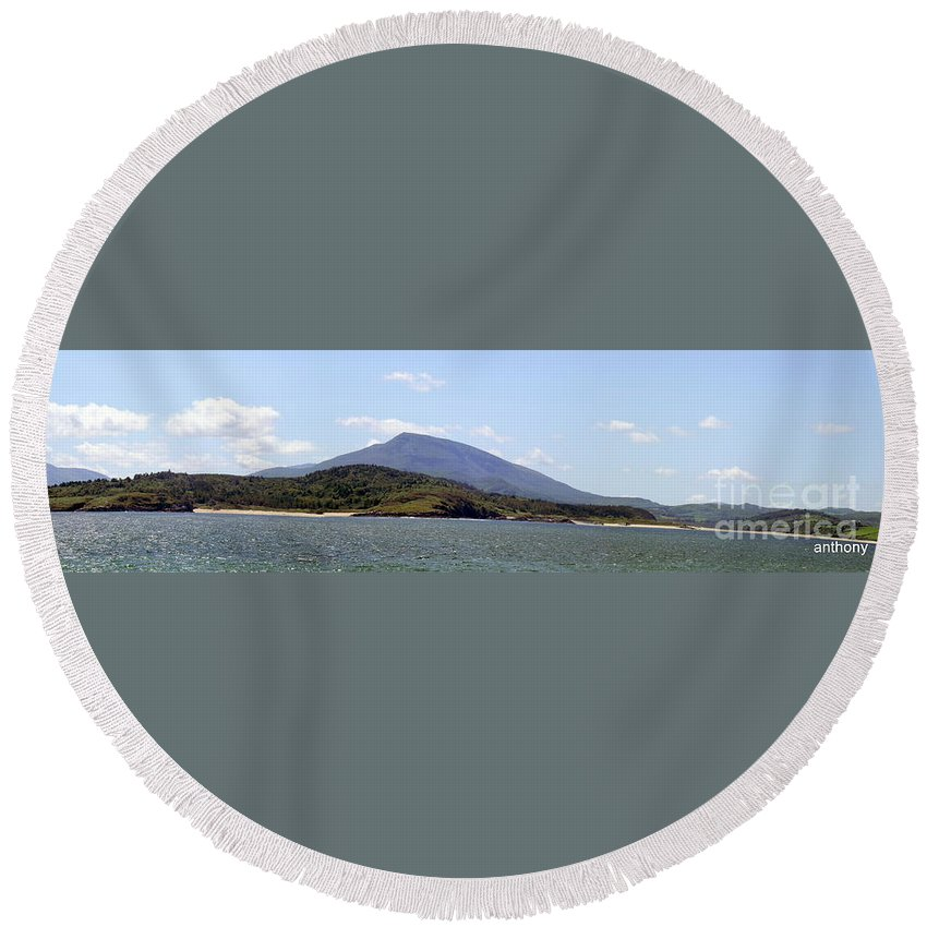 Landscape Round Beach Towel featuring the photograph Sheepheaven by Anthony Gallagher