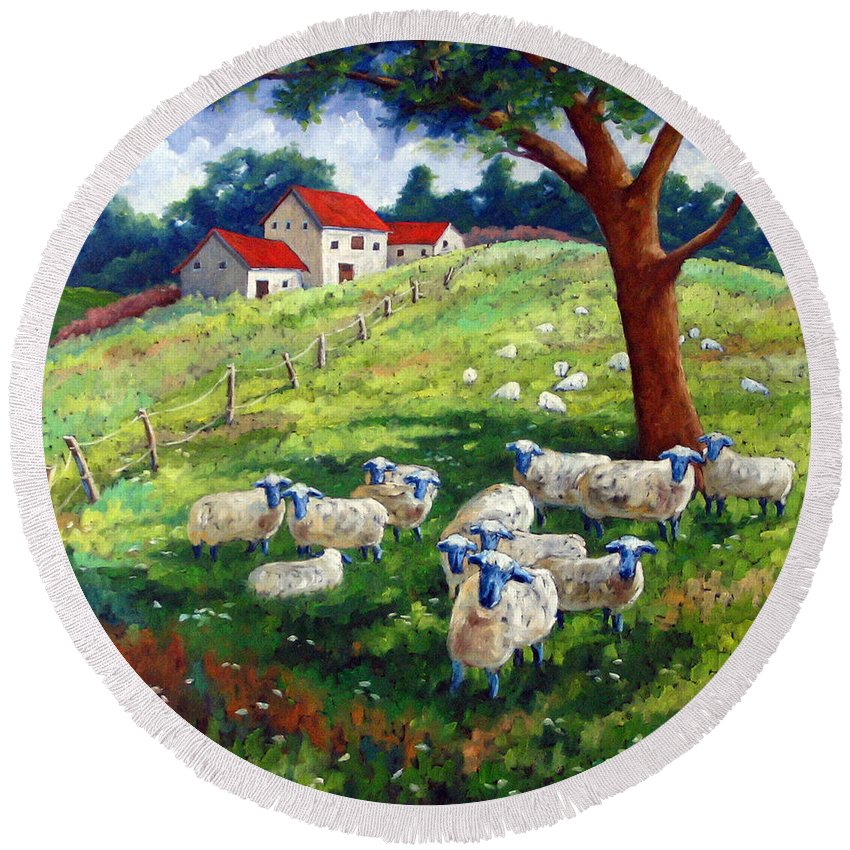 Sheep Round Beach Towel featuring the painting Sheeps In A Field by Richard T Pranke
