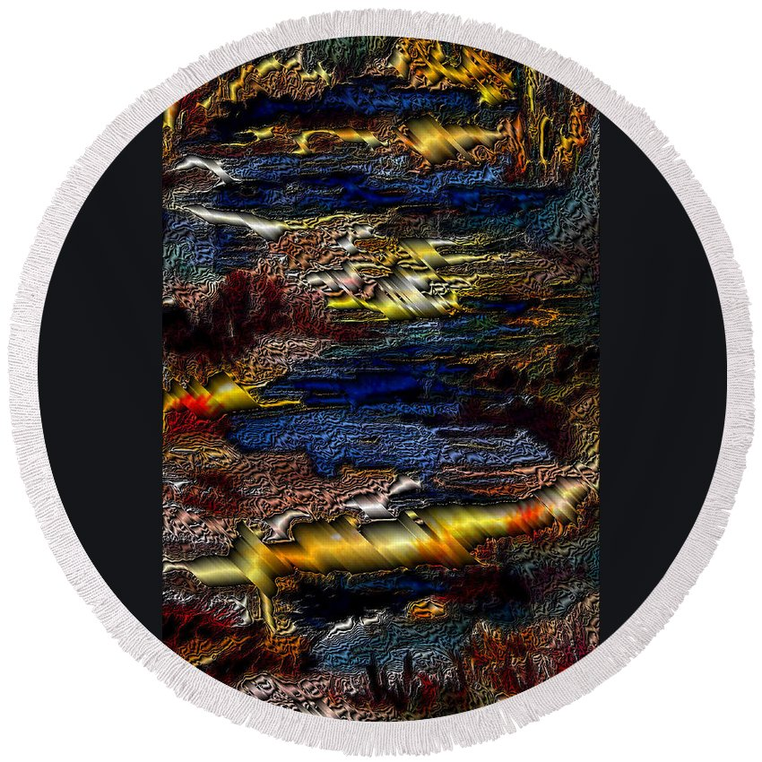 Metal Reflections Round Beach Towel featuring the photograph Sheet Metal by Joanne Smoley