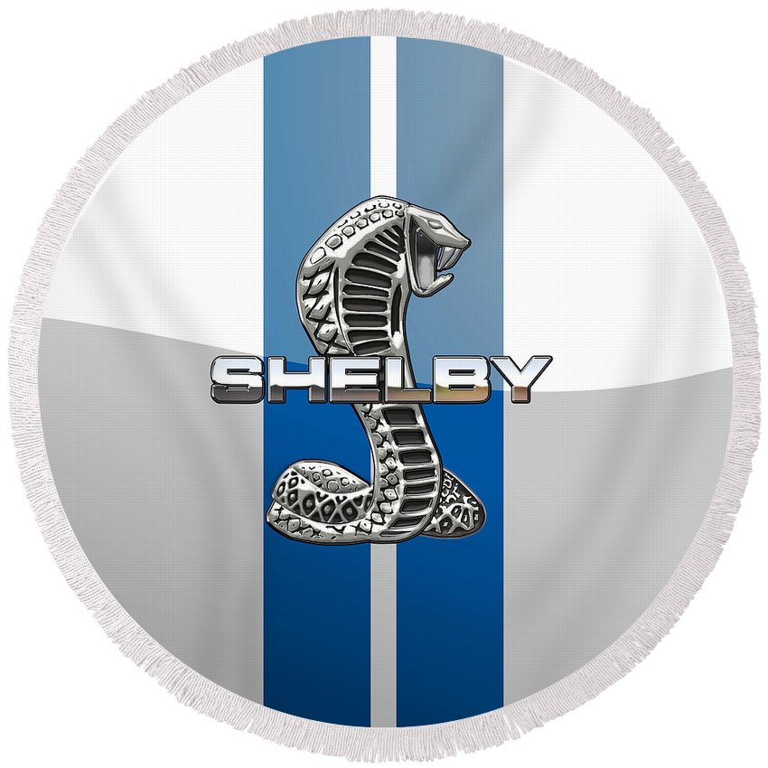 'auto Badges' Collection By Serge Averbukh Round Beach Towel featuring the photograph Shelby Cobra - 3D Badge by Serge Averbukh
